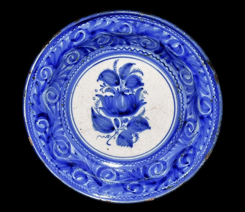 19th Cent European Tin Glaze Earthenware Charger Antique Blue and White  - Premier Estate Gallery