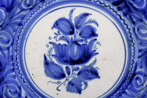 19th Cent European Tin Glaze Earthenware Charger Antique Blue and White Stoneware