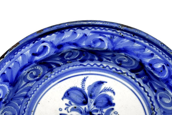 19th Cent European Tin Glaze Earthenware Charger Antique Blue and White Stoneware - Premier Estate Gallery 2