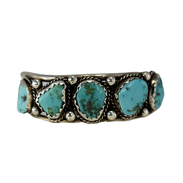 Big Navajo Turquoise and Sterling Silver Cuff Bracelet Foster Yazzie IHMSS - Premier Estate Gallery 1