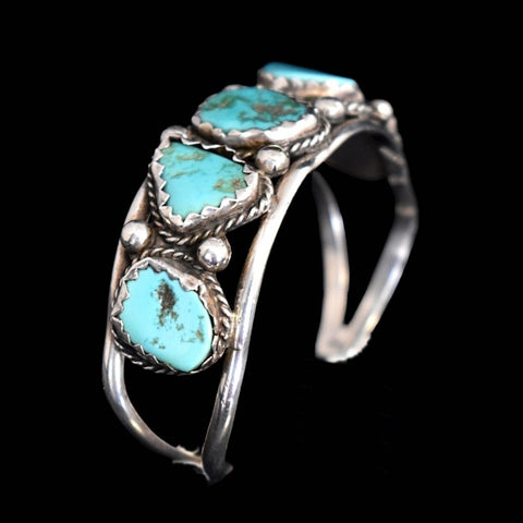 Big Navajo Turquoise and Sterling Silver Cuff Bracelet Foster Yazzie IHMSS - Premier Estate Gallery