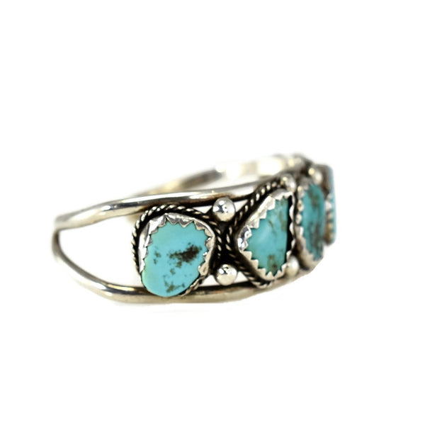 Big Navajo Turquoise and Sterling Silver Cuff Bracelet Foster Yazzie IHMSS - Premier Estate Gallery 3