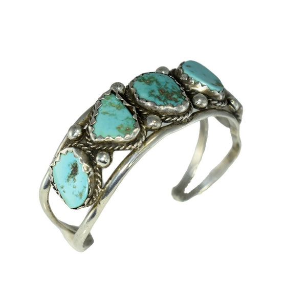 Big Navajo Turquoise and Sterling Silver Cuff Bracelet Foster Yazzie IHMSS - Premier Estate Gallery 4