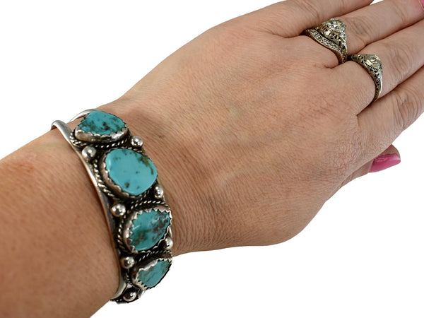 Big Navajo Turquoise and Sterling Silver Cuff Bracelet Foster Yazzie IHMSS