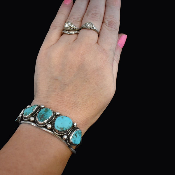 Big Navajo Turquoise and Sterling Silver Cuff Bracelet Foster Yazzie IHMSS - Premier Estate Gallery 2