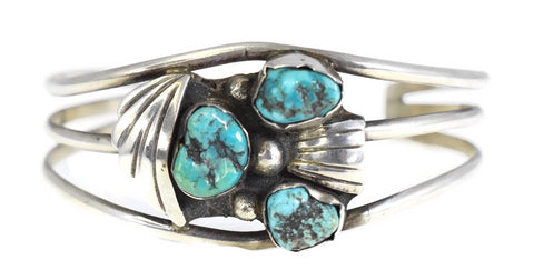 Vintage Sterling Silver Turquoise Cuff Bracelet Boho Style - Premier Estate Gallery