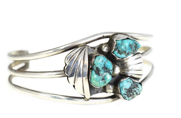Vintage Sterling Silver Turquoise Cuff Bracelet Boho Style - Premier Estate Gallery 3