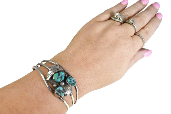 Vintage Sterling Silver Turquoise Cuff Bracelet Boho Style