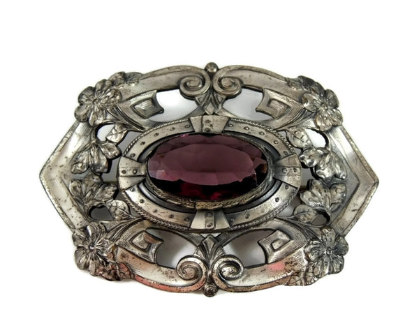 Victorian Amethyst Glass Brooch Big Silver Plate 3 inch - Premier Estate Gallery  - 2