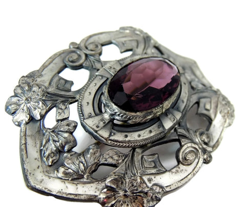 Victorian Amethyst Glass Brooch Big Silver Plate 3 inch - Premier Estate Gallery  - 1