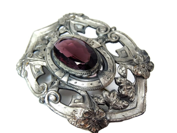 Victorian Amethyst Glass Brooch Big Silver Plate 3 inch - Premier Estate Gallery  - 4