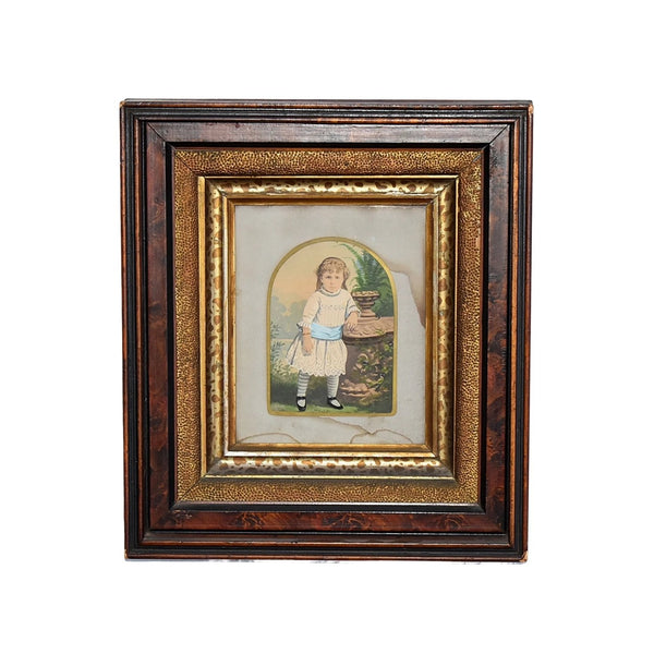 Antique Watercolor Little Girl in Deep Victorian Walnut Frame Gilt Leopard - Premier Estate Gallery