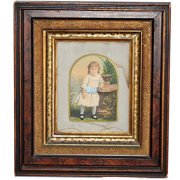 Antique Watercolor Little Girl in Deep Victorian Walnut Frame Gilt Leopard - Premier Estate Gallery  1