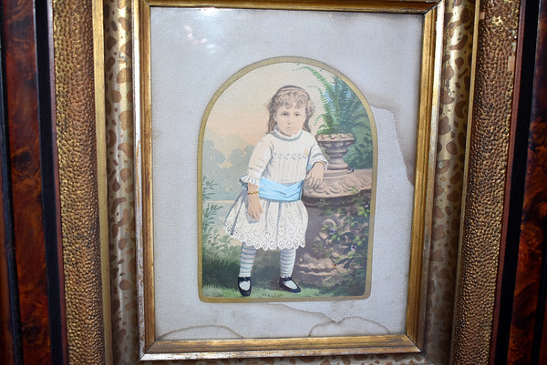 Antique Watercolor Little Girl in Deep Victorian Walnut Frame Gilt Leopard Painted