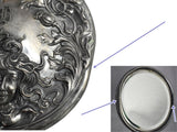 Estate Art Nouveau Silver Plate Hand Mirror Repousse Lady with Flowing Hair