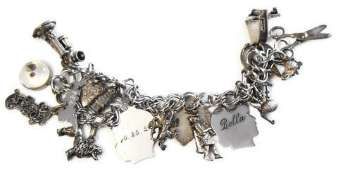 Vintage Sterling Silver Charm Bracelet 20 Charms Bagpipes - Premier Estate Gallery