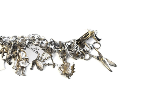 Vintage Sterling Silver Charm Bracelet 20 Charms Bagpipes - Premier Estate Gallery 2
