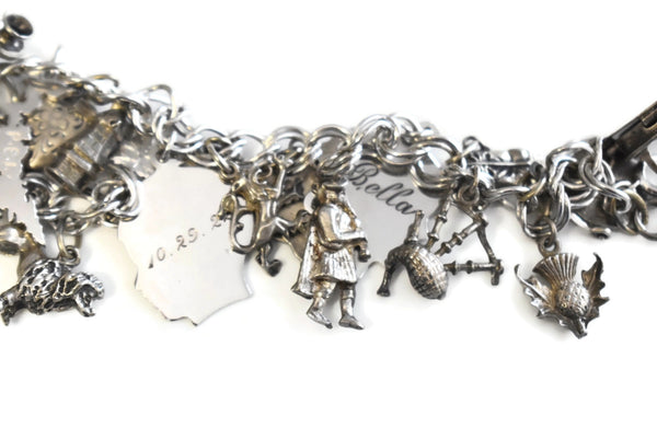 Vintage Sterling Silver Charm Bracelet 20 Charms Bagpipes - Premier Estate Gallery 3