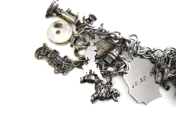 Vintage Sterling Silver Charm Bracelet 20 Charms Bagpipes - Premier Estate Gallery 4
