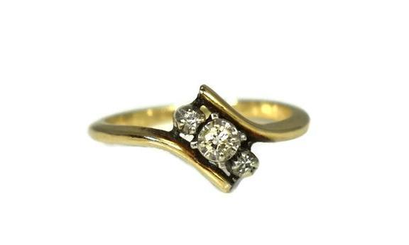Vintage 14k Yellow Gold Diamond Promise Ring Dainty - Premier Estate Gallery 1
