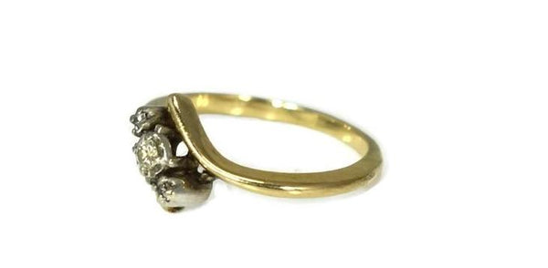 Vintage 14k Yellow Gold Diamond Promise Ring Dainty