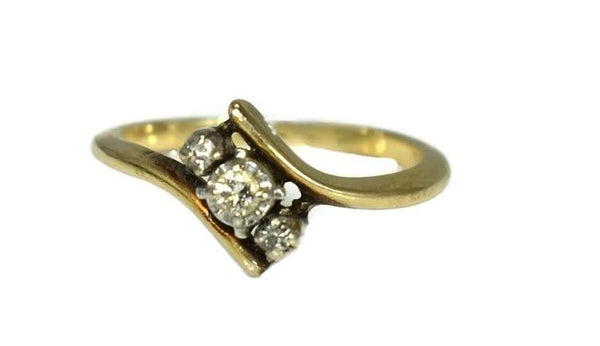 Vintage 14k Yellow Gold Diamond Promise Ring Dainty - Premier Estate Gallery 2