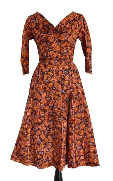 Vintage 1950s Day Dress with Built In Crinoline Pristine Condition - Premier Estate Gallery