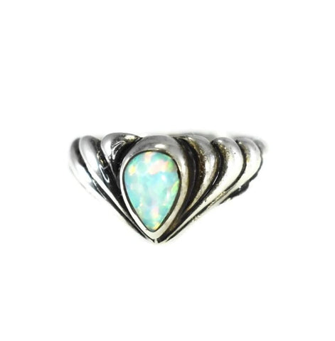Vintage Opal Pinky Ring Mexican Sterling Silver Signed Ott - Premier Estate Gallery
