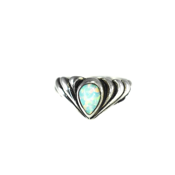 Vintage Opal Pinky Ring Mexican Sterling Silver Signed Ott - Premier Estate Gallery 1