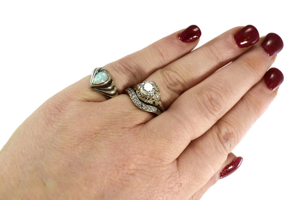 Vintage Opal Pinky Ring Mexican Sterling Silver Signed Ott