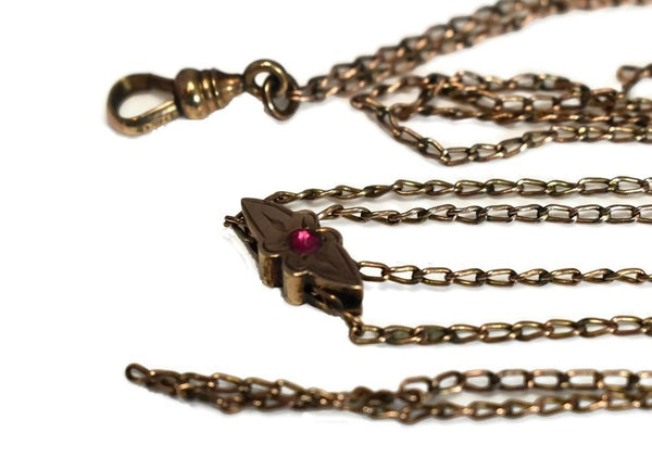 Antique Victorian Watch Chain Jeweled Slide Gold Filled - Premier Estate Gallery 2