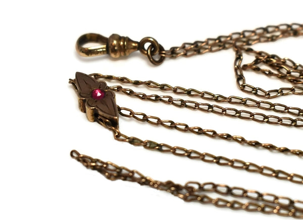Antique Victorian Watch Chain Jeweled Slide Gold Filled - Premier Estate Gallery 3