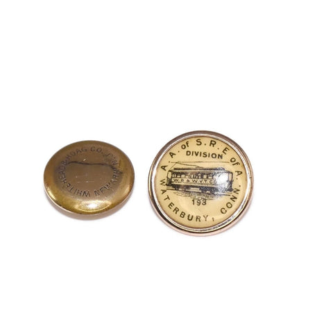 Waterbury Connecticut Antique Cable Car Trolley Gold Filled Button - Premier Estate Gallery