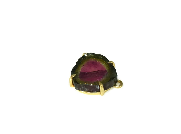 Vintage 14k Watermelon Tourmaline Watch Fob Gold Setting Pink and Green Gemstone