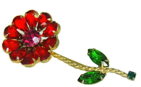 Vintage Weiss Flower Rhinestone Brooch Large Bright Stones - Premier Estate Gallery  - 1