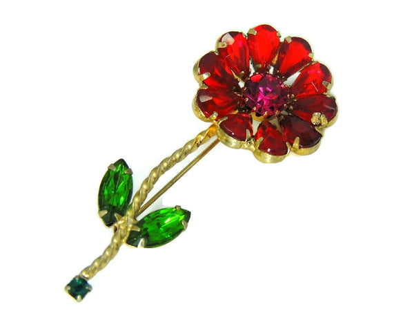 Vintage Weiss Flower Rhinestone Brooch Large Bright Stones - Premier Estate Gallery  - 2