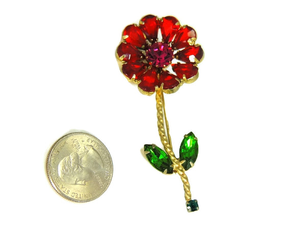 Vintage Weiss Flower Rhinestone Brooch Large Bright Stones - Premier Estate Gallery  - 4