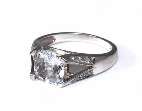 14k Aquamarine Cushion Cut Diamond Ring White Gold 1.54 Cts - Premier Estate Gallery