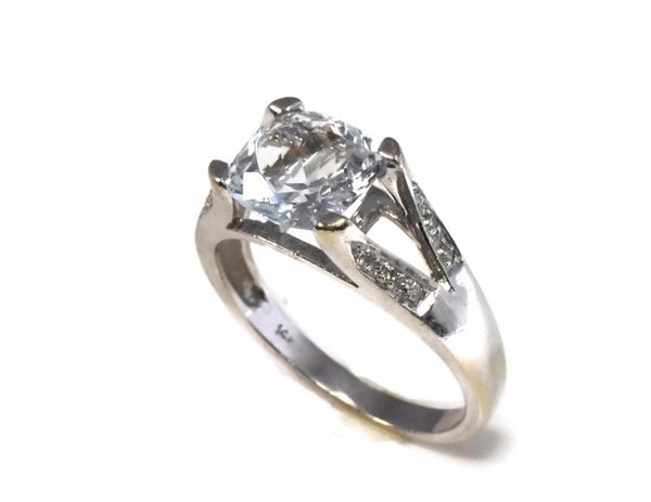 14k Aquamarine Cushion Cut Diamond Ring White Gold 1.54 Cts - Premier Estate Gallery 2