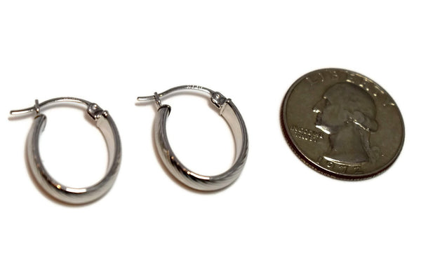 14k White Gold Hoop Earrings .75 Inch Perfect Size Hoops for Everyday Wear