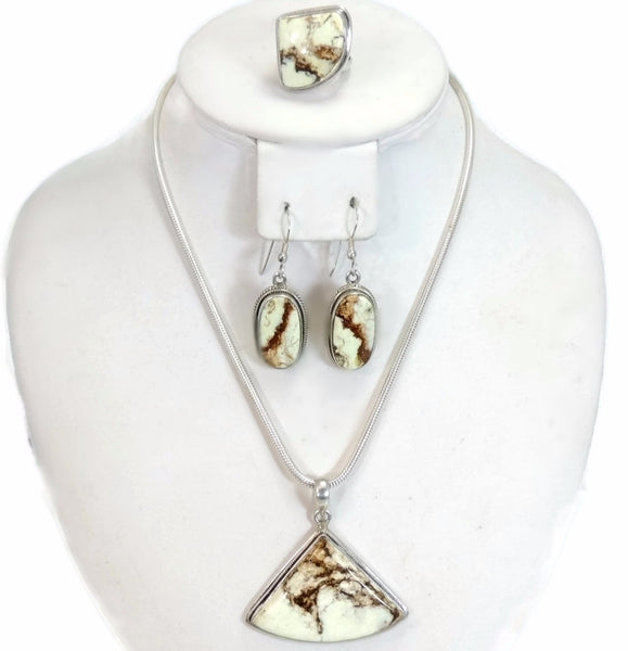 Vintage Earthtone Howlite Jewelry Set Silver 4 pc Set - Premier Estate Gallery  - 2
