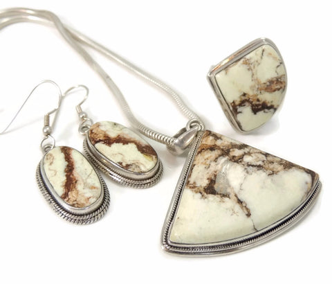 Vintage Earthtone Howlite Jewelry Set Silver 4 pc Set - Premier Estate Gallery  - 1