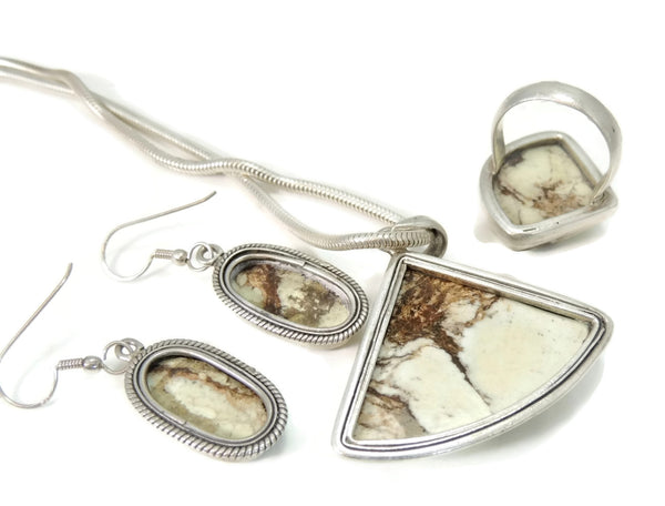 Vintage Earthtone Howlite Jewelry Set Silver 4 pc Set - Premier Estate Gallery  - 3