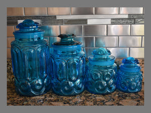 Vintage Turquoise Moon and Stars Canister Set LE Smith Glass c1950 - Premier Estate Gallery