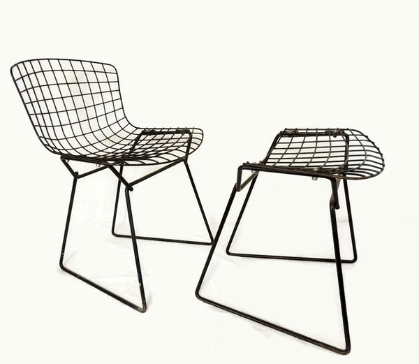 Harry Bertoia Knoll Child Wire Chairs Ottoman Set 1960s - Premier Estate Gallery  - 6
