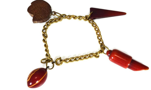 Vintage Football Cheerleader Pep Rally Charm Bracelet c1950s