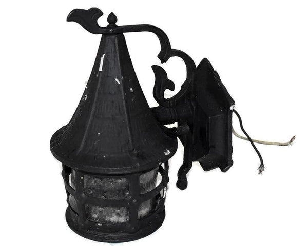 Vintage Wrought Iron Indoor Outdoor Lantern Light Fixture c1950 - Premier Estate Gallery