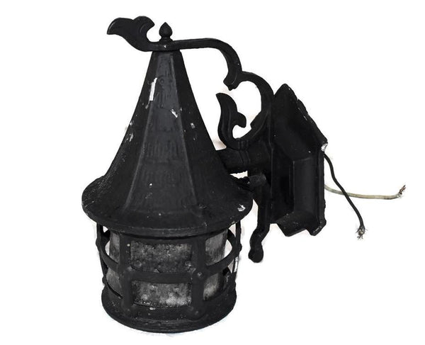 Vintage Wrought Iron Indoor Outdoor Lantern Light Fixture c1950 - Premier Estate Gallery 3