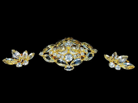 Vintage Glamour Rhinestone Jewelry Set c1960s Brooch Earrings - Premier Estate Gallery  - 1
