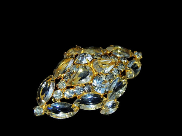 Vintage Glamour Rhinestone Jewelry Set c1960s Brooch Earrings - Premier Estate Gallery  - 5
